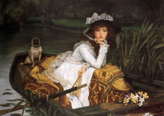 Tissot, James Jacques Joseph: Young Lady in a Boat. Fine Art Print/Poster. Sizes: A4/A3/A2/A1 (001637)